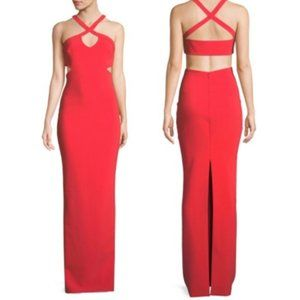 NEW LIKELY Carlone Red Cut-Out Maxi Dress Size 12
